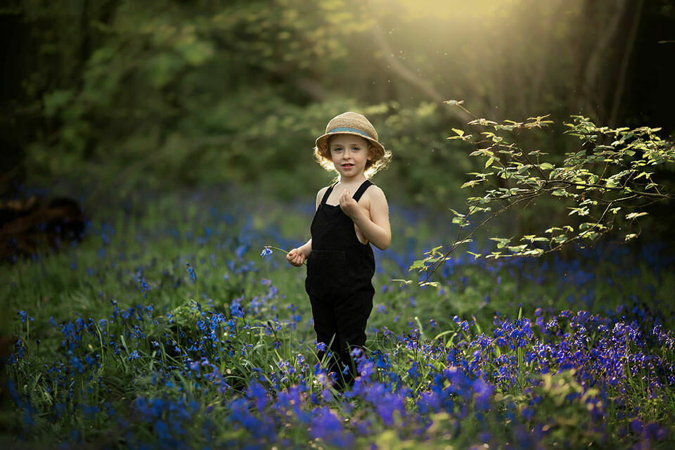 Bluebells London Boy Photo Session   photo of a 4 year old boy surrounded by bluebells